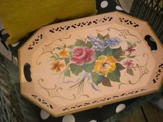 Rare Pink Vintage Tole Tray French by HitOrMissTreasures on Etsy, $48.00