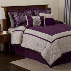 Delila Six Piece Plum And Gray King Comforter Set Lush Decor King Comforter Sets Bedding
