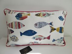 Colourful fishes cushion with lovely soft polyester inner, cream back with central zip and red or blue piping. 20 x 13 inches Applique Cushions, Fish Design, Colorful Fish, Cushion Fabric, Fabric Design, December, Throw Pillows, My Favorite Things, Board