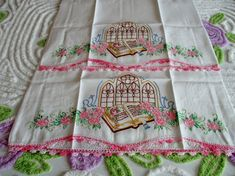 Vintage Pair of Bible Church Theme Pillow Cases in Excellent Condition
