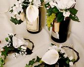 Wedding Reception Centerpieces Wine bottle Toppers Set of 5. $64.00, via Etsy.    I can make these for table place cards!
