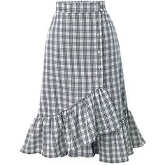 YILIA Asymmetric Mermaid Plaid Skirt (135 CNY) ❤ liked on Polyvore featuring skirts, tartan skirt, tartan plaid skirt, plaid skirt and asymmetrical skirt