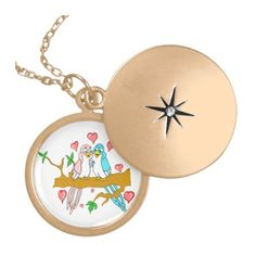 Lovebirds Locket Necklace ($38) ❤ liked on Polyvore featuring jewelry, necklaces, locket necklace and locket jewelry