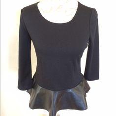Ann Taylor Vegan Leather Peplum Top Very flattering, long sleeved with side zipper. Ann Taylor Tops