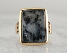 Antique Rose Gold Mens Ring, Ladies Statement Piece, Dendritic Agate Gem W432A2 - P