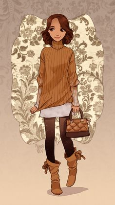 I like the clothes style the colours and the pose of this character - at first I thought her bag was a basket! - Churros II by meago on deviantART