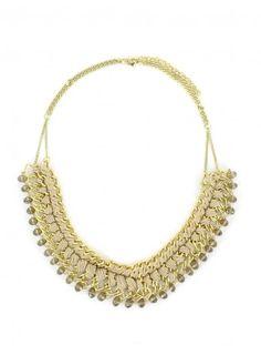 Collier plastron doré entremêlé de perles beiges Beige