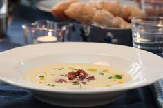 Potatosoup with bacon and thyme