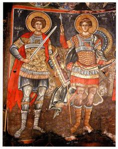 St Georgios and St Demetrios Byzantine Icons, Religious Icons, Orthodox Icons, Ancient Art, Middle Ages, Archaeology, Christianity, Medieval, Saints