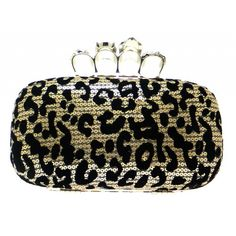 Leopard print knuckle ring clutch bag, surrounding by sequins, making this bag dazzle, a great fashion choice when you attend parties. Varies in colours.