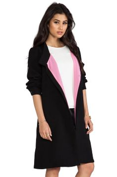 Line & Dot Draped Tailored Coat in Black