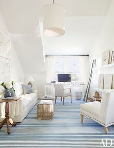 attic office white and blue