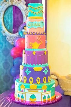 Feast your eyes on this exotic Aladdin-themed birthday party! The cake is a work of art. See more party ideas and share yours at CatchMyParty.com #catchmyparty #partyideas #aladdin #aladdinparty #girlbirthdayparty #aladdincake