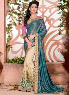 Buy Teal Beige Embroidery Work Georgette Jacquard Half N Half Sarees http://www.angelnx.com/Sarees/Party-Wear-Sarees