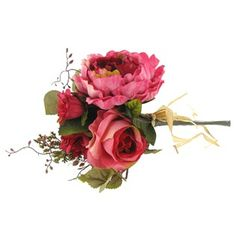 """This beautiful bouquet is 12"""" in length including the stem. The flower blossoms range in size from 5"""" to 2"""" and the leaves 4 1/2"""" x 3"""" to 2/3"""". Includes an assortment of roses, hydrangeas, dahlias and peonies"""