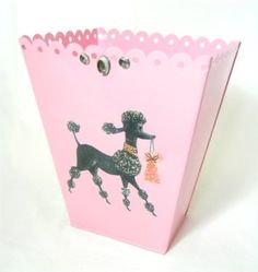 Amazon.com: Vintage French Poodle Wastebasket, Trash Receptacle, Trash Holder or Bin ~ E33 Shabby Chic Pink Enamel Coated Metal Waste Basket with French Vintage 50's Poodle Decoupage Art: Home & Kitchen