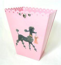 Pink vintage 1950 39 s poodle dog ransburg trash can vintage poodles and pink - Shabby chic wastebasket ...