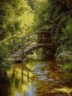 Woodland Bridge Cross Stitch pattern PDF - EASY chart with one color per sheet AND traditional chart! Two charts in one! by HeritageCharts on Etsy
