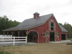 Stall barn kit with 20′ x 28′ garage/storage el. Stall barn has four 10′ x 12′ stalls, three 4′ x 7'6″ exterior dutch stall doors, one 10′ x 10′ tack room and one 10′ x 10′ feed room, two 10′...  Read more »