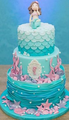 Paty Shibuya: Festa A Pequena Sereia. Super cute mermaid cake for mermaid themed birthday party Little Mermaid Cakes, Mermaid Birthday Cakes, Little Mermaid Parties, Girl Birthday, Birthday Parties, Cake Birthday, Fete Emma, Sea Cakes, Fondant Cupcakes