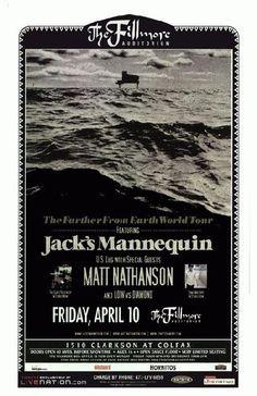 Concert poster for Jack's Mannequin at The Fillmore Auditorium in Denver, CO in 2009. 11 x 17 on card stock.<br><br>