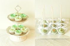 Mint, White, Gold Cupcakes & Cakepops