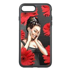 Retro Pinup Girl Laughing Red Daisy Flowers OtterBox Symmetry iPhone 8 Plus/7 Plus Case - red gifts color style cyo diy personalize unique