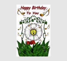 8.5x5.5 Singing Daisy Birthday Card Topper Digital by DigitalPicks