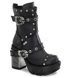 Demonia Multi Strap Studded Ankle Boots. 3 1/2 Inch Heel. Full inner side zipper for the perfect fit. Available in sizes 6-12. Whole sizes only.