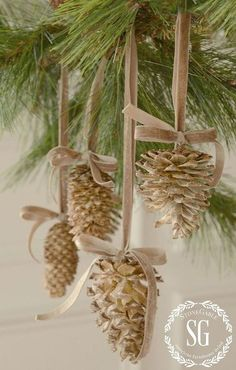 give pine cones a beautiful bleached look, Christmas decorations, crafts, seasonal holiday decor Sou Noel Christmas, Rustic Christmas, Winter Christmas, Cheap Christmas, Vintage Christmas, Stone Gable Christmas, Simple Christmas, French Christmas Decor, Pine Cone Christmas Tree