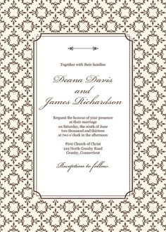 FREE PDF Download   Stately Frame Invitation Template. With Matching RSVP  And Thank You Cards