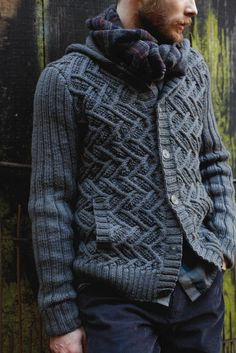 NEW ROWAN PATTERN BOOK A/W 2013: Settler hoodie by Martin Storey, in Pioneer booklet, available July 15, 2013. Made with Rowan Pure Wool Aran.