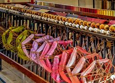 Silk ready for winding on to bobbins at Whitchurch Silk Mill in Hampshire