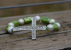 Lime Green/Silver Sideways Cross Bracelet by LidsnGlitz on Etsy