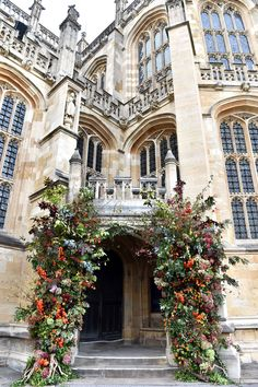 Bespoke style entrance to the chapel on Princess Eugenie and Jack Brooksbank's Wedding Day- HarpersBAZAAR.com