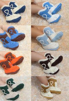 Handmade Knit Crochet Boy Cowboy Baby Boots Shoes Newborn Photo Prop 8 Color New