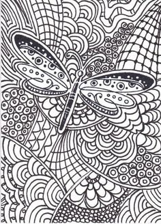 coloring pages dragonfly - zen tangle