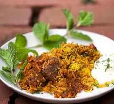 Indian Lamb Biryani: a casserole of tender lamb curry and fragrant saffron rice. Serve with cooling cucumber raita on the side. Lamb Biryani Recipes, Lamb Recipes, Rice Recipes, Indian Food Recipes, Asian Recipes, Dinner Recipes, Cooking Recipes, Ethnic Recipes, Potato Recipes