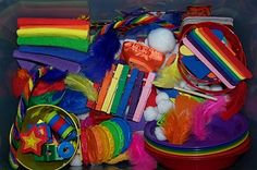 Lots of great ideas for a Rainbow Sensory Bin. I like the pipe cleaners all twisted together.