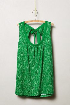 Rosae Tank - anthropologie.com. ME LIKEY! Love the emerald green color and the print! The back cutout detail and tie makes it a bit special.