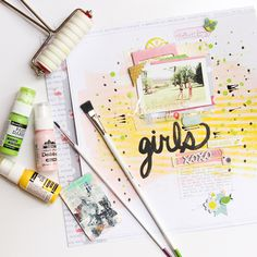 Add layers and patterns of paint and clear accents for a trendy, fresh look to your Citrus Bliss Layouts