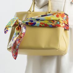 Spring is Here - Yellow Annada Scarf tied on a bag