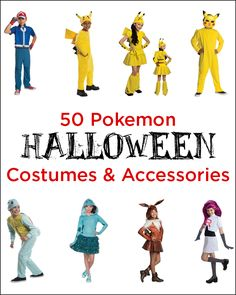 50 Pokemon Halloween Costumes and Accessories - from Pikachu to Charizard.  Adult and kids costumes