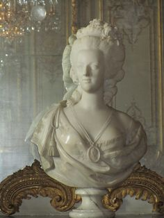 Versailles, France - Versailles Palace, bust statue of Marie Antoinette, who died on Oct 16, 1793 on the guillontine in Place de la Concorde in Paris.  She was 38 years old.