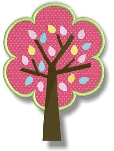 Tree with Leaves - Springtime Birds and Trees Collection - 6 sizes Applique Machine Embroidery Design - for 4x4 5x7 and 6x10 hoop. $2.99, via Etsy.
