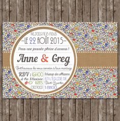 faire-part liberty chic Wedding Cards, Wedding Invitations, Wedding Day, Retro Chic, Save The Date, Diy And Crafts, Frame, Handmade, Vintage