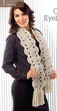 Quick Eyelet Scarf.  Kristin Lynn.  Crochet scarf.  Crochet! Winter 2015. Newsstand.  Super chunky 60m/ 100g x 3.