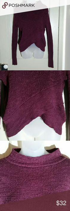 Free People Sweater Plum, imported by Urban Outfitters, overlapping and offset hem on front, cross each other forming an inverted v, small pick on back of shoulder shown in picture 5, does not affect overall appeal as shown in distance picture in pic 6, long sleeves Free People Sweaters