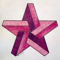 Illusion Drawings, Illusion Art, Geometry Art, Sacred Geometry, Geometric Designs, Geometric Shapes, Impossible Shapes, Isometric Drawing, Math Art