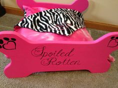 Small Wooden bone shaped dog bed set with matching reversible bedding, all hand made and sewn.